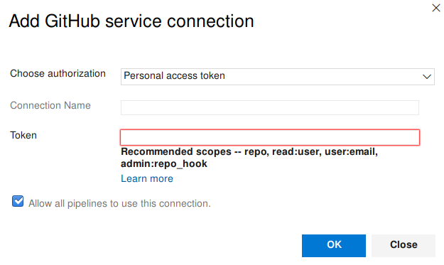 Adding a Github service connection in Azure