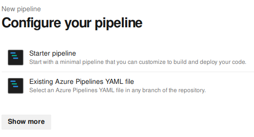 Selecting wether to use a starter pipeline or an existing YAML file
