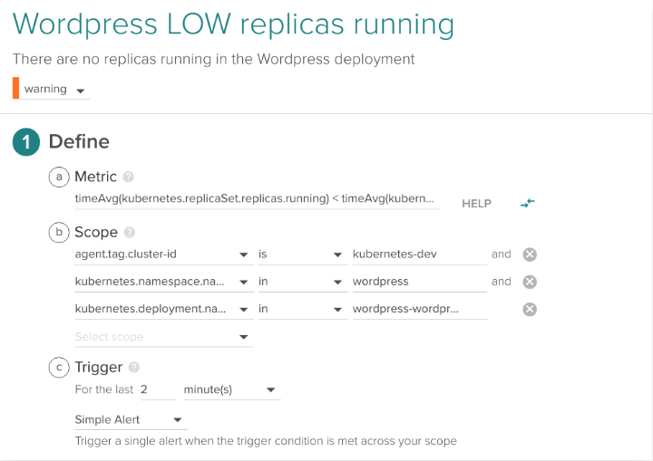 Example Kubernetes Alert: Low replicas running for a service
