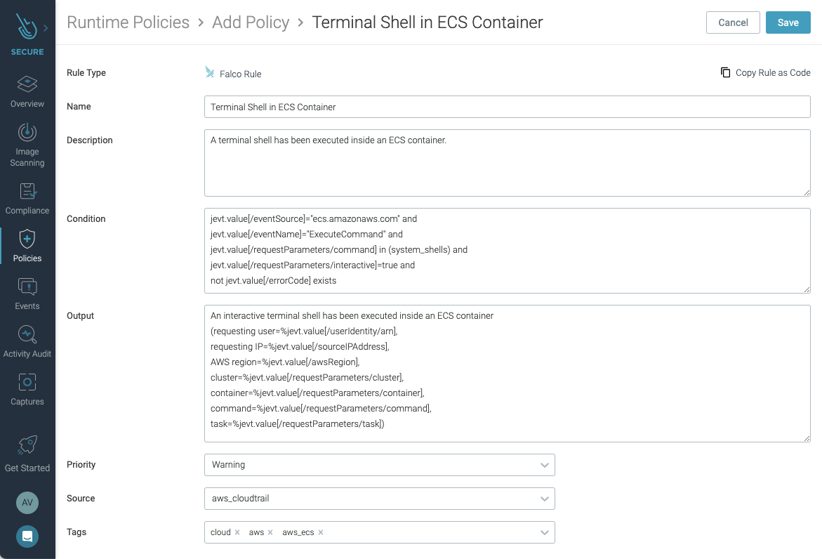 Amazon ECS Exec rule in Sysdig Secure