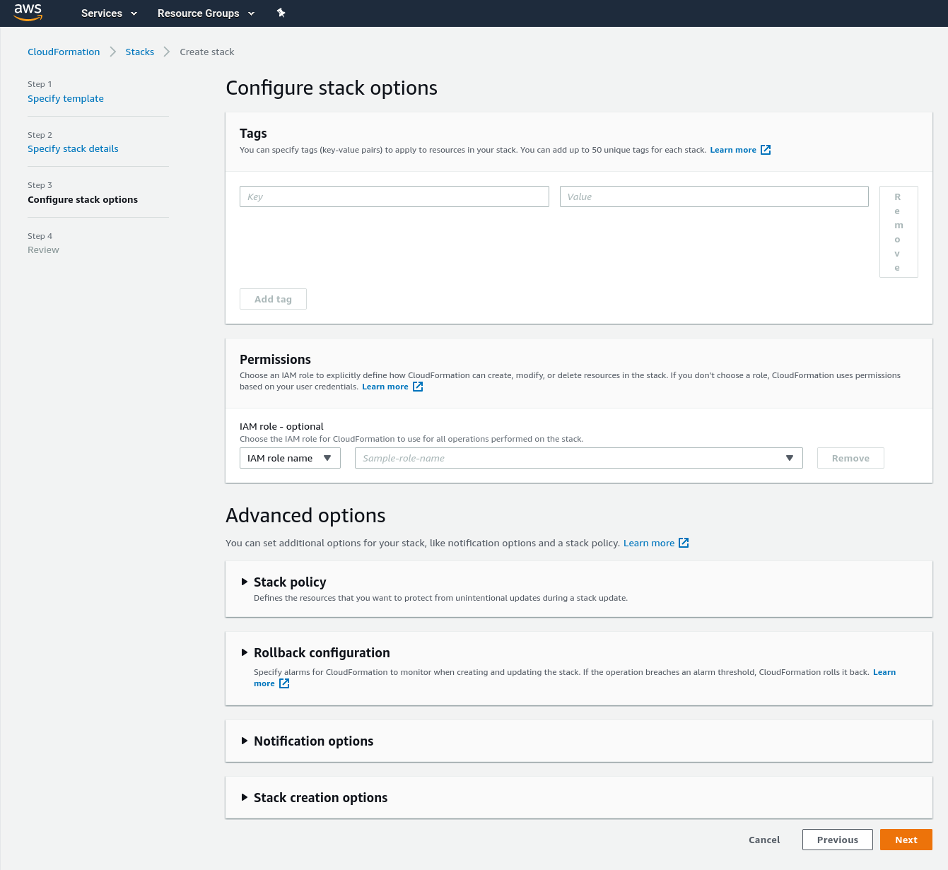 CloudFormation template to set up Fargate image scanning - The configure stack options step