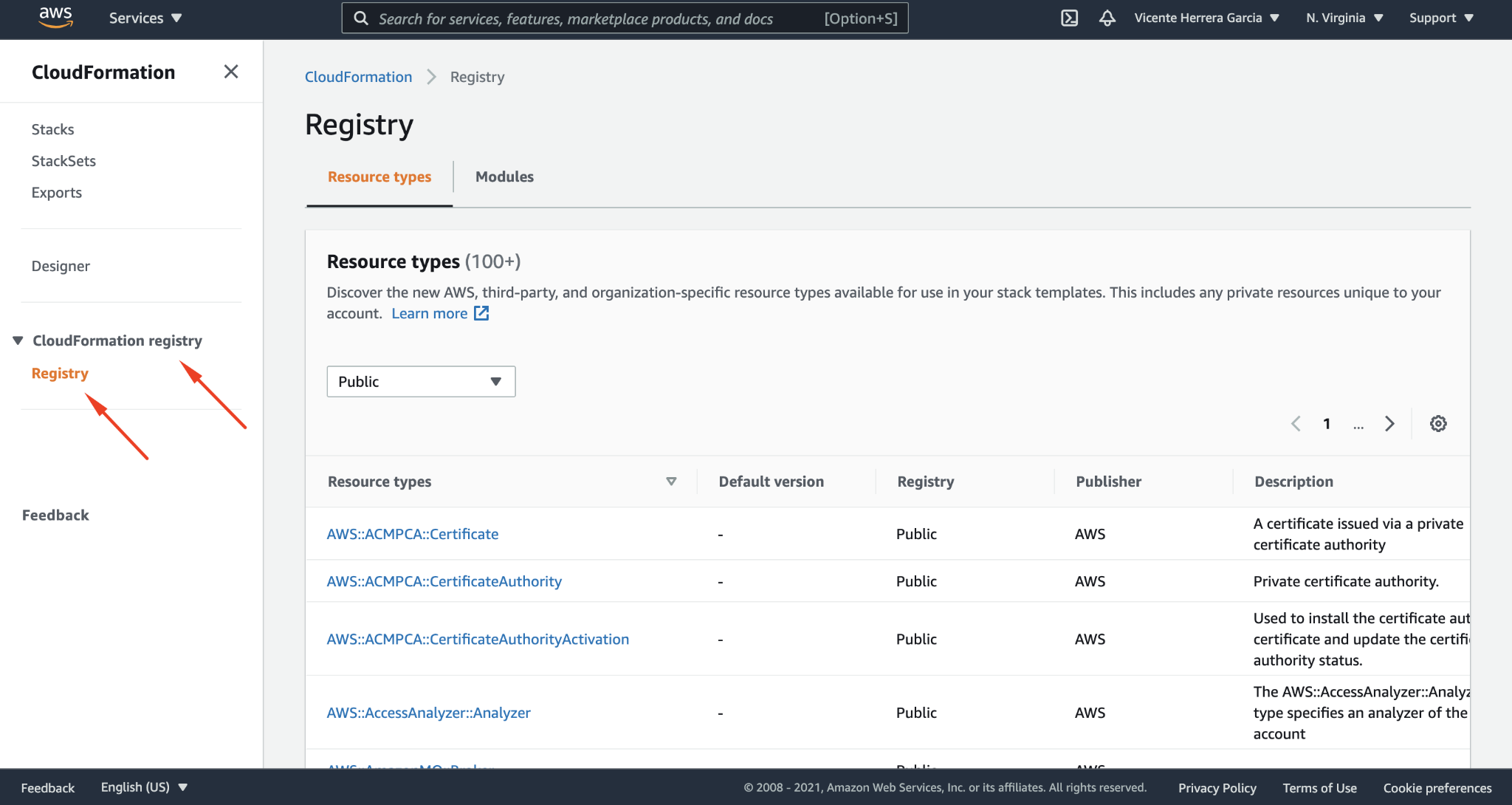 Accessing extensions from the AWS public cloud registry