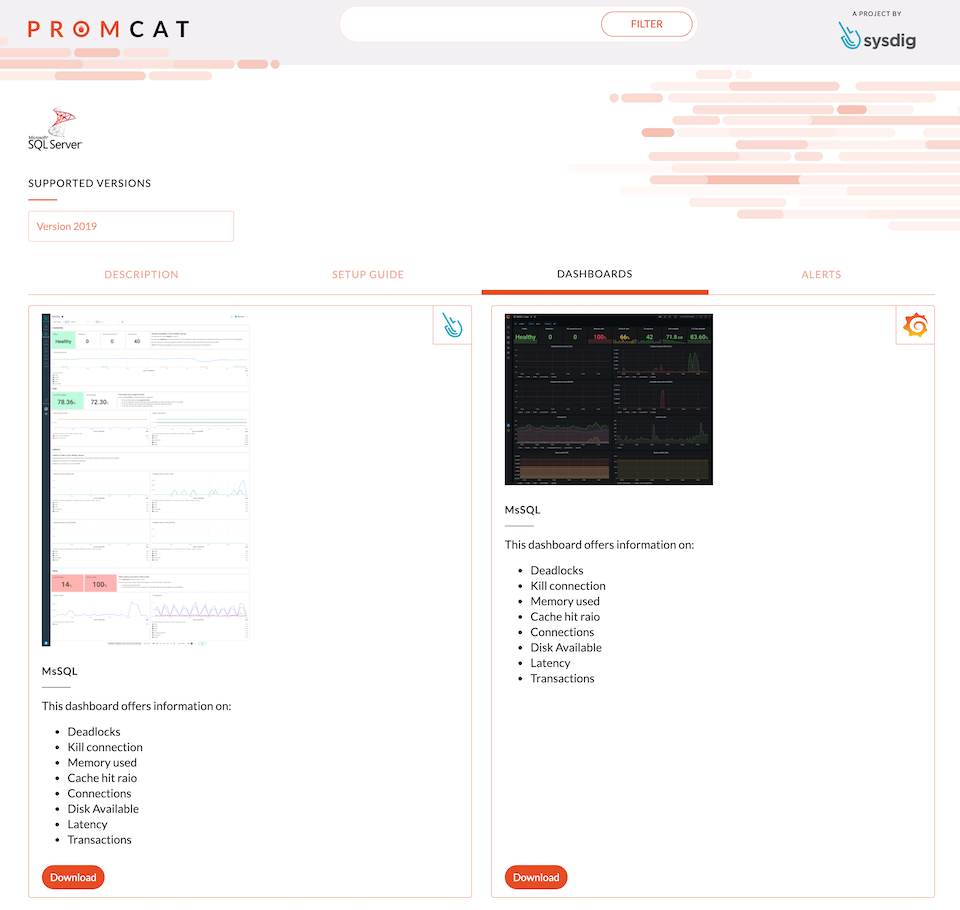 screenshot showing the dashboard page for the SQL Server configuration in PromCat.io, where you can download the dashboards for both Grafana and Sysdig Monitor!