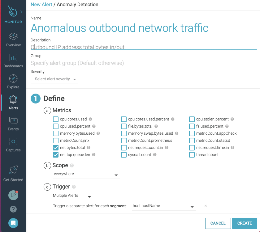 Creating an alert to detect anomalous network traffic